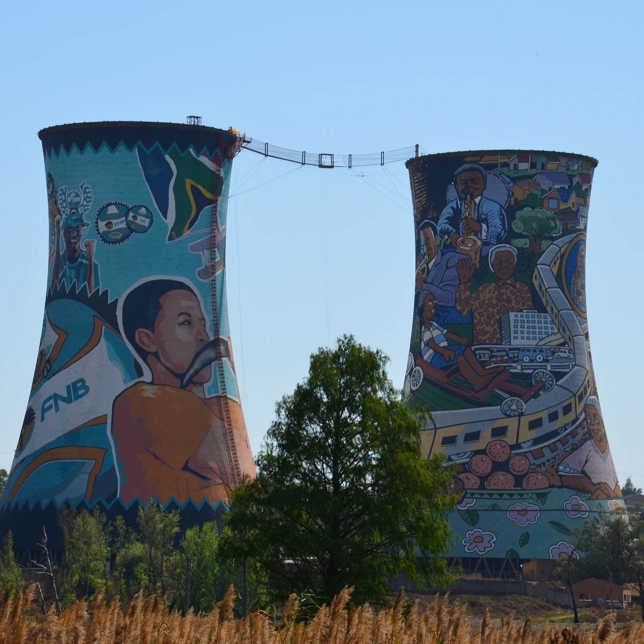 Cooling towers in Soweto used as a Bunjee jumping centre